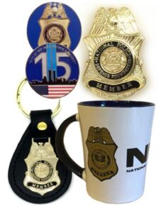 NPDF 9/11 Memorial Coin and NPDF Mug, Key Chain & NPDF Wallet Badge Pin Image